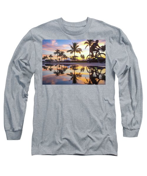 Sunrise Cyclist Delray Beach Florida Long Sleeve T-Shirt