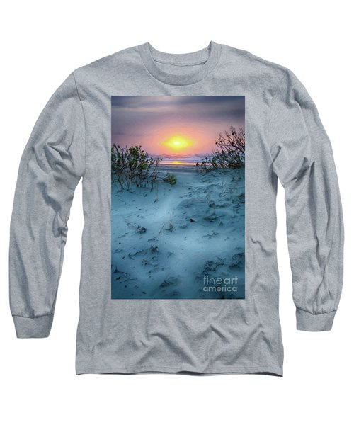 Long Sleeve T-Shirt featuring the painting Sunrise Hike On The Outer Banks Ap by Dan Carmichael