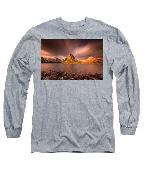 Sunrise In Glacier National Park Long Sleeve T-Shirt