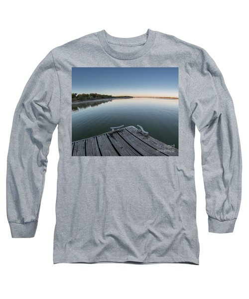 Sunrise On A Clear Morning Over Large Lake With Fog On Top, From Long Sleeve T-Shirt