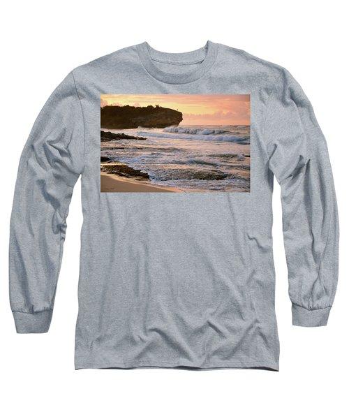 Sunrise On Shipwreck Beach Long Sleeve T-Shirt by Marie Hicks