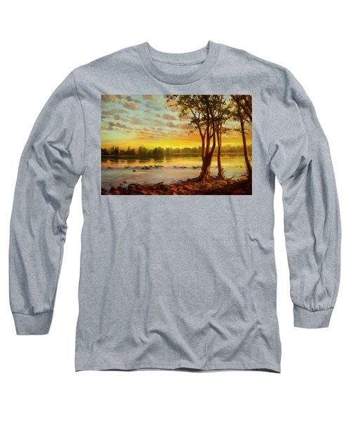 Long Sleeve T-Shirt featuring the painting Sunrise On The Columbia by Steve Henderson