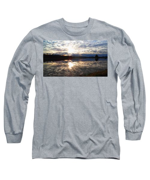 Sunrise Over Flooded Field In Bow Long Sleeve T-Shirt