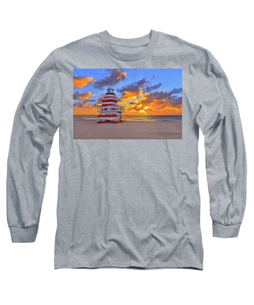 Sunrise Over Lifegaurd Stand On South Miami Beach  Long Sleeve T-Shirt