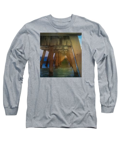 Sunrise Under The Pier Long Sleeve T-Shirt by Arlene Carmel