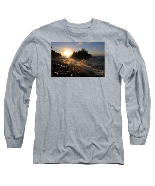 Long Sleeve T-Shirt featuring the photograph Sunrise Waves by Sandra Updyke