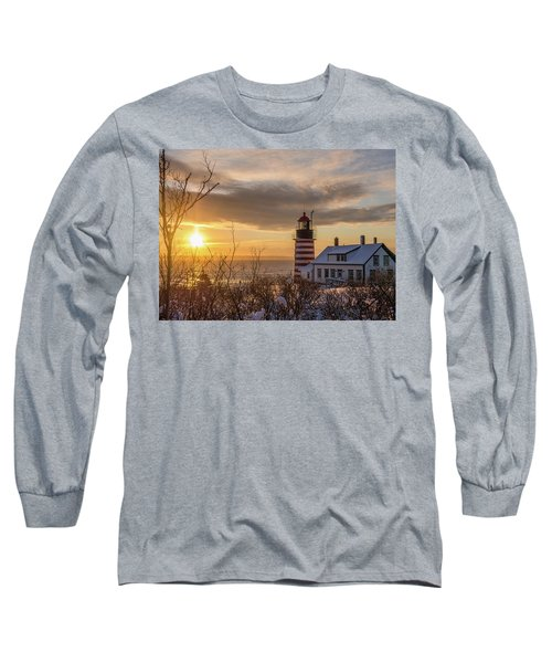 Sunrise West Quoddy Lighthouse Long Sleeve T-Shirt by Trace Kittrell