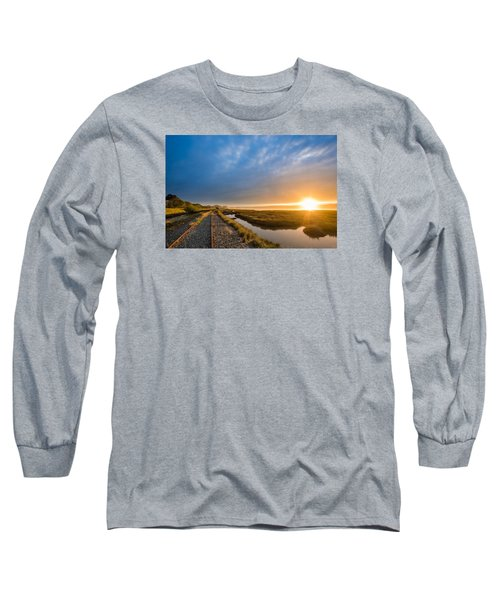 Sunset And Railroad Tracks Long Sleeve T-Shirt by Greg Nyquist