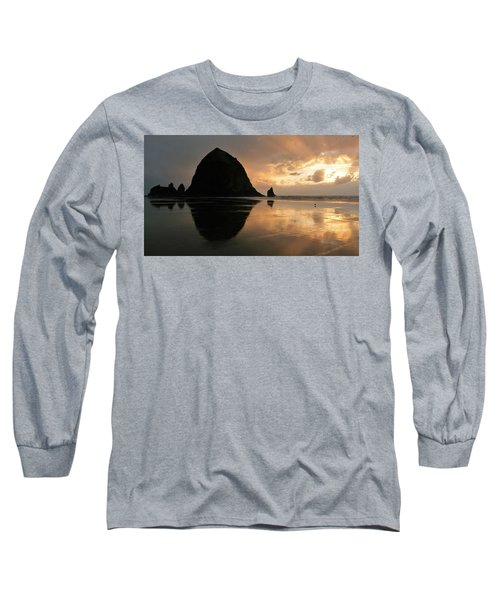 Sunset At Haystack Rock Long Sleeve T-Shirt