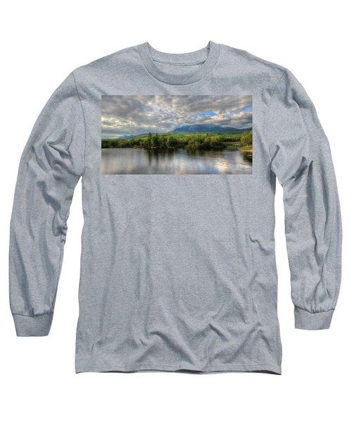 Sunset At Mt. Katahdin Long Sleeve T-Shirt by Lori Deiter