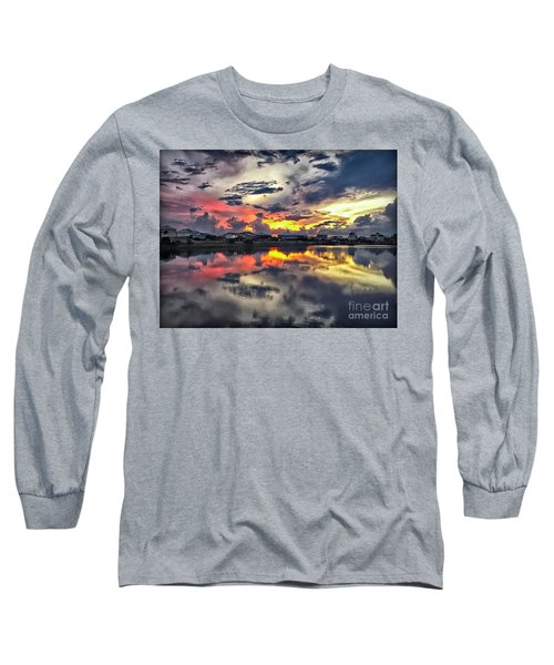 Sunset At Oyster Lake Long Sleeve T-Shirt by Walt Foegelle