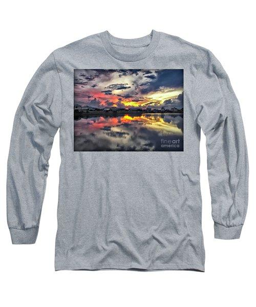 Sunset At Oyster Lake Long Sleeve T-Shirt