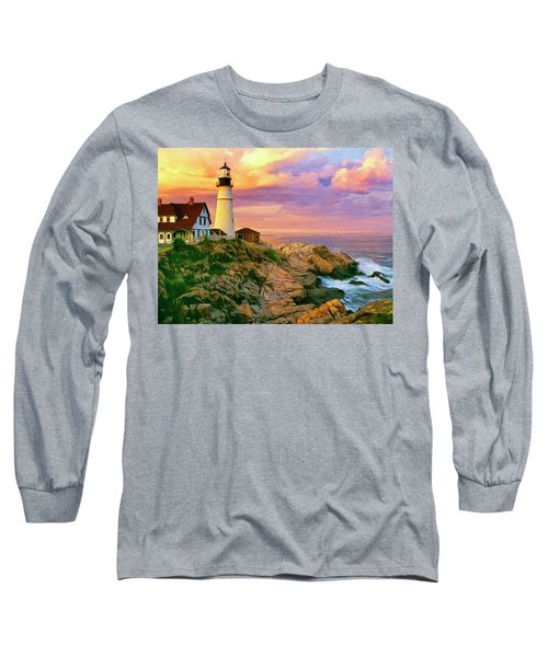 Sunset At Portland Head Long Sleeve T-Shirt