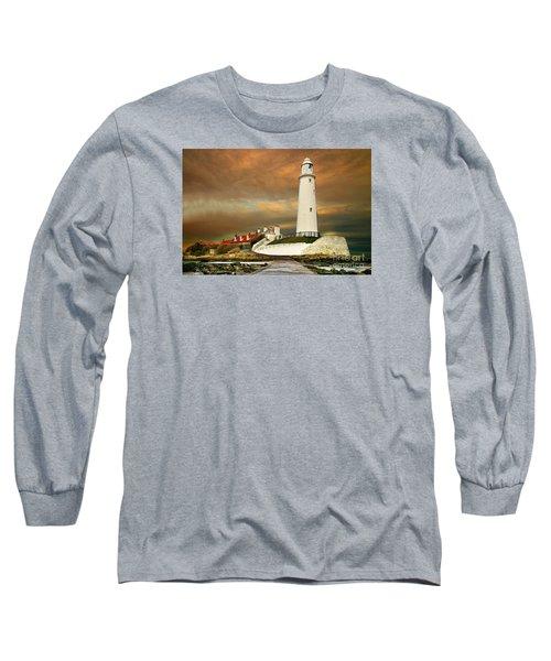 Sunset At Saint Mary's Lighthouse Long Sleeve T-Shirt