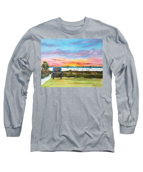 Sunset At Siesta Key Public Beach Long Sleeve T-Shirt by Lloyd Dobson