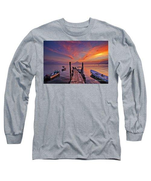 Sunset At The Panajachel Pier On Lake Atitlan, Guatemala Long Sleeve T-Shirt