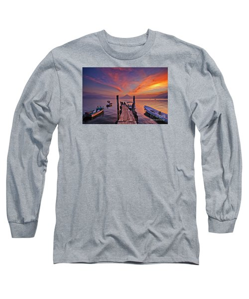 Sunset At The Panajachel Pier On Lake Atitlan, Guatemala Long Sleeve T-Shirt