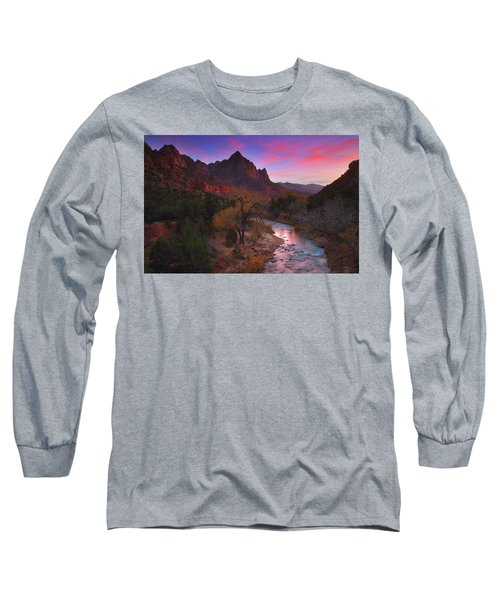 Sunset At The Watchman During Autumn At Zion National Park Long Sleeve T-Shirt