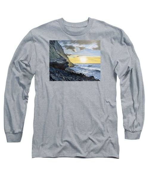 Long Sleeve T-Shirt featuring the painting Sunset At Warren Point Duckpool by Lawrence Dyer