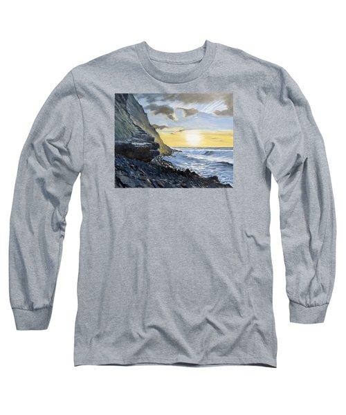 Sunset At Warren Point Duckpool Long Sleeve T-Shirt