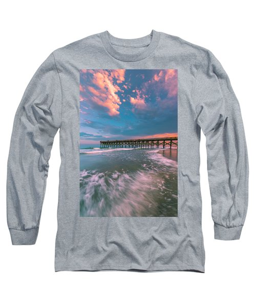 Sunset At Wilmington Crystal Pier In North Carolina Long Sleeve T-Shirt