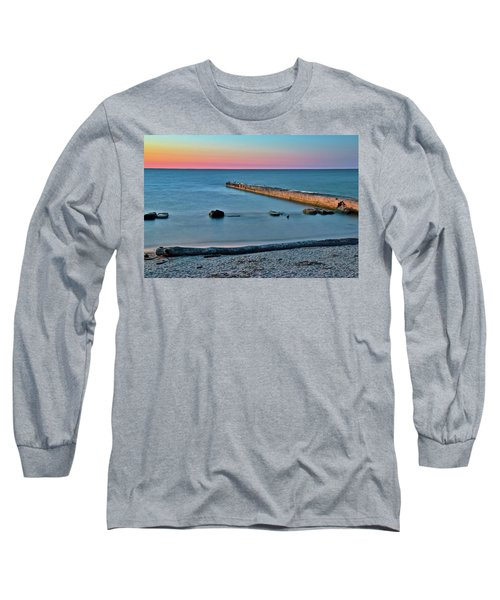 Long Sleeve T-Shirt featuring the photograph Sunset Beach On Lake Erie by Frozen in Time Fine Art Photography