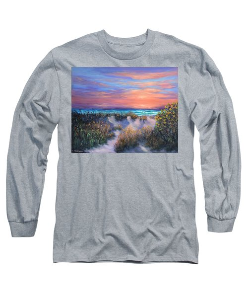 Sunset Beach Painting With Walking Path And Sand Dunesand Blue Waves Long Sleeve T-Shirt