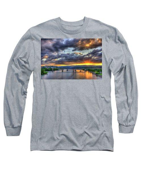 Sunset Bridges Of Chattanooga Walnut Street Market Street Long Sleeve T-Shirt