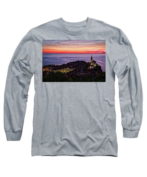 Long Sleeve T-Shirt featuring the photograph Sunset From The Walls #3 - Piran Slovenia by Stuart Litoff