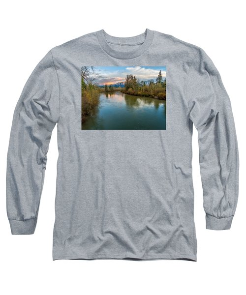 Sunset Glow Over The Snoqualmie River Long Sleeve T-Shirt by Rob Green