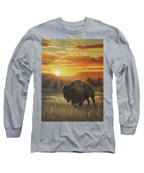 Sunset In Bison Country Long Sleeve T-Shirt by Kim Lockman