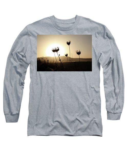 Sunset On Galilee Road Long Sleeve T-Shirt by Yoel Koskas