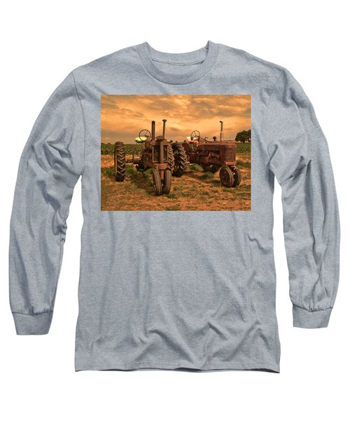 Sunset On The Tractors Long Sleeve T-Shirt by Ken Smith