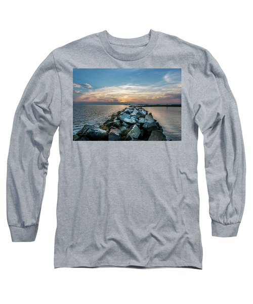 Sunset Over A Rock Jetty On The Chesapeake Bay Long Sleeve T-Shirt