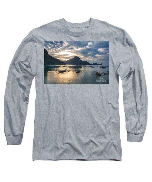 Sunset Over El Nido Bay In Palawan, Philippines Long Sleeve T-Shirt