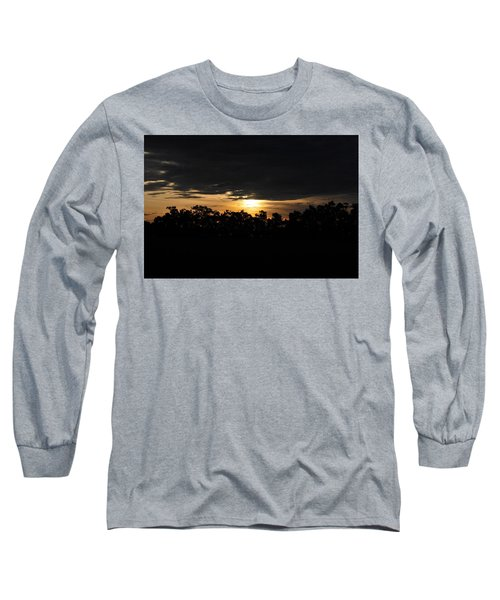 Sunset Over Farm And Trees - Silhouette View  Long Sleeve T-Shirt by Matt Harang