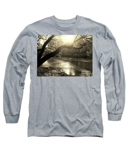 Sunset Over Flat Rock River - Southern Indiana - Sepia Long Sleeve T-Shirt