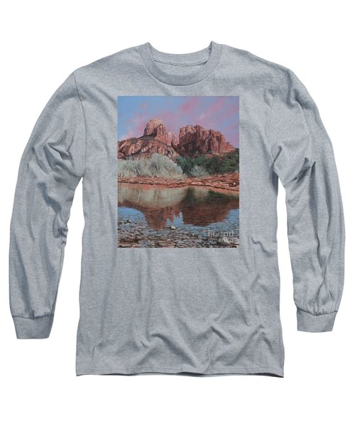 Sunset Over Red Rocks Of Sedona  Long Sleeve T-Shirt by Barbara Barber