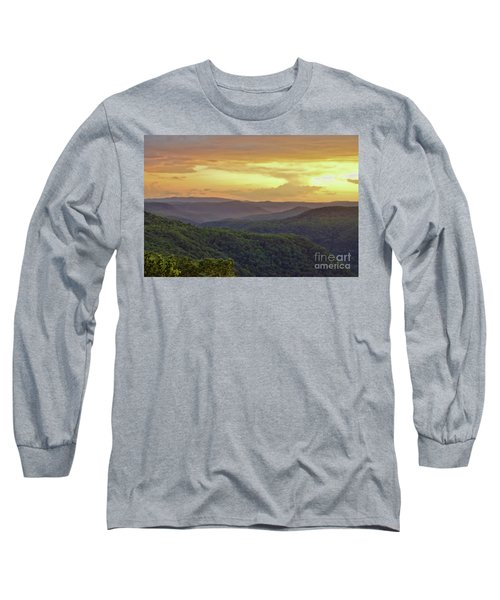 Long Sleeve T-Shirt featuring the photograph Sunset Over The Bluestone Gorge - Pipestem State Park by Kerri Farley