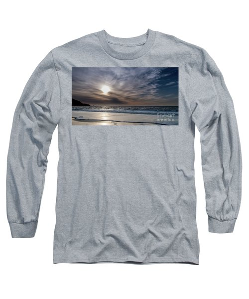 Sunset Over West Coast Beach With Silk Clouds In The Sky Long Sleeve T-Shirt