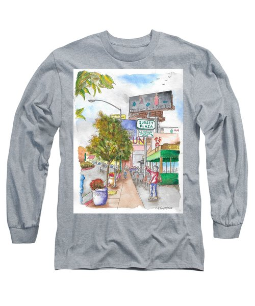 Sunset Plaza, Sunset Blvd., And Londonderry, West Hollywood, California Long Sleeve T-Shirt by Carlos G Groppa