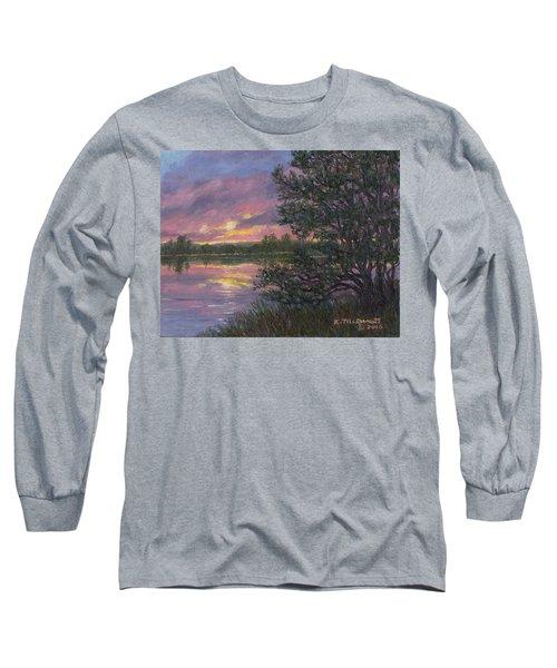 Sunset River # 8 Long Sleeve T-Shirt by Kathleen McDermott