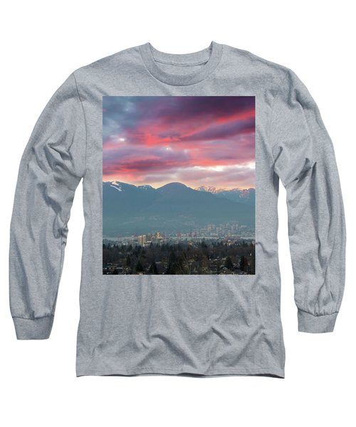 Sunset Sky Over Port Of Vancouver Bc Long Sleeve T-Shirt