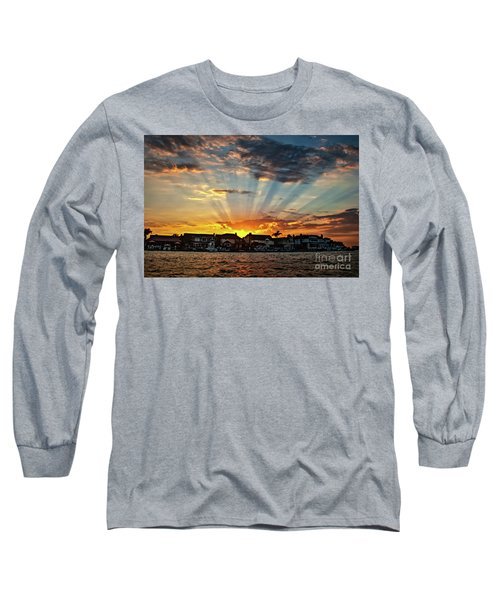 Sunset Sunrays Over Huntington Harbour Long Sleeve T-Shirt by Peter Dang