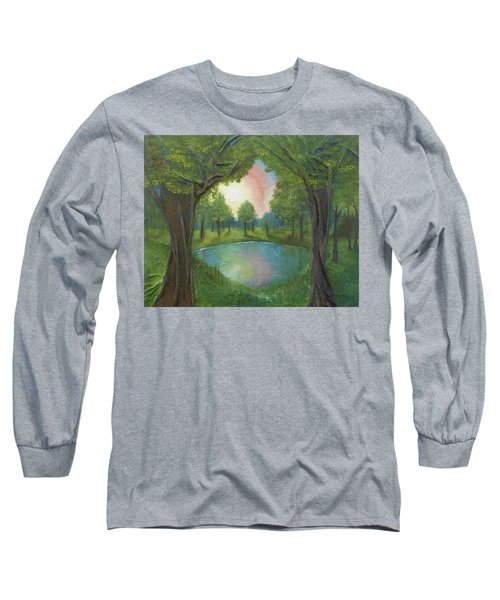Long Sleeve T-Shirt featuring the mixed media Sunset Through Trees by Angela Stout