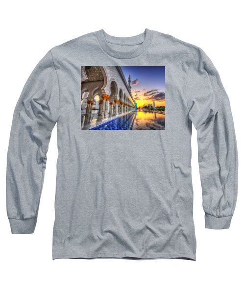 Long Sleeve T-Shirt featuring the photograph Sunset Water Path Temple by John Swartz