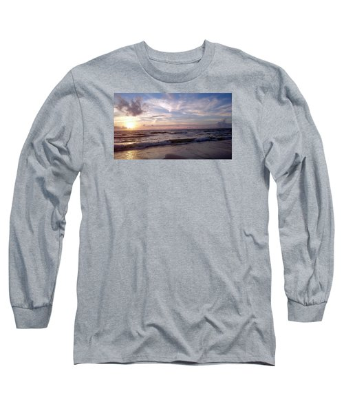 Long Sleeve T-Shirt featuring the painting Sunset Waves  by Vicky Tarcau