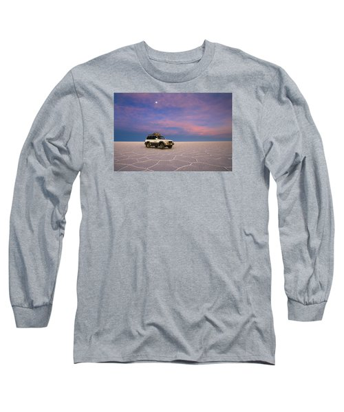 Lake Uyuni Sunset With Car Long Sleeve T-Shirt by Aivar Mikko