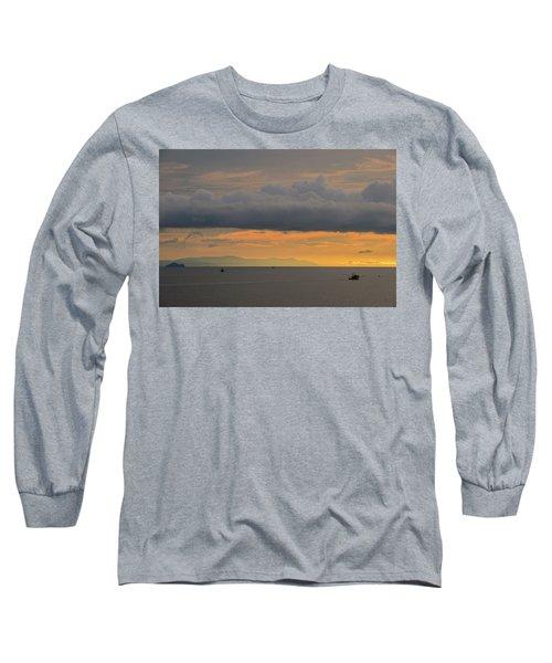 Sunset With Fishing Boats At Sea Long Sleeve T-Shirt