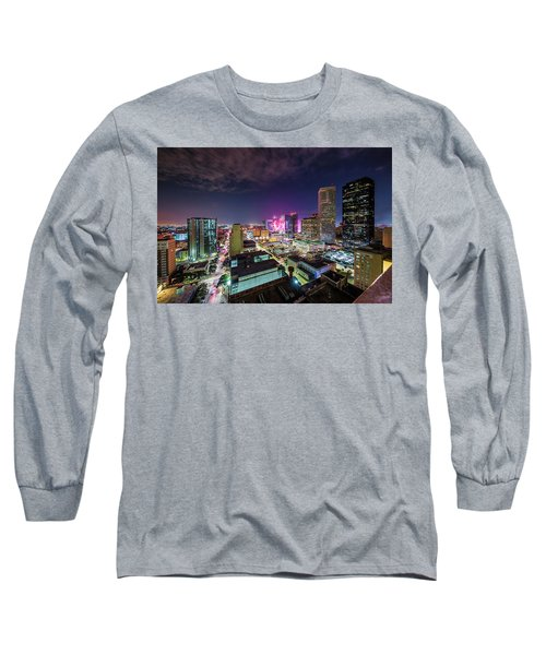 Super Bowl Li Down Town Houston Fireworks Long Sleeve T-Shirt by Micah Goff